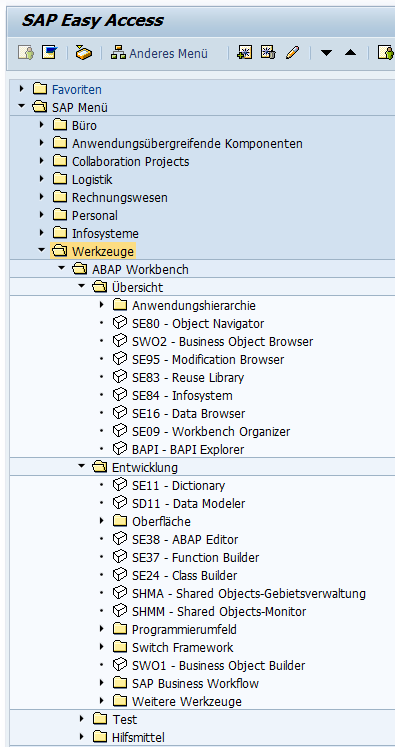SAP Menü im Bereich ABAP Workbench