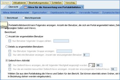 Abbildung 1 Berichtsarten eines Portal Activity Reports