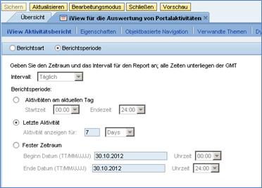 Abbildung 2 Auswahl der Berichtsperiode eines Portal Activity Reports