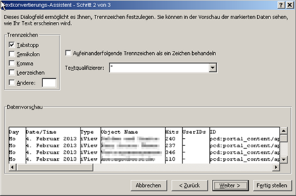 SAP Portal Excel Import der Portal Activity Report Daten