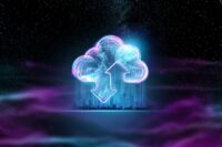 Creative background, hologram image of clouds on the background of energy waves, purple background. The concept of cloud technology, cloud storage, a new generation of networks. Mixed media.