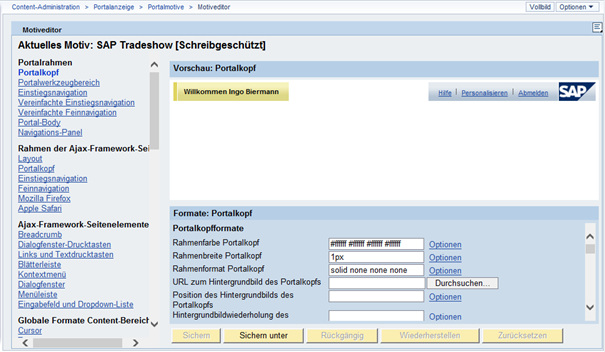 Motive für SAP Portal: Portal-Motiveditor