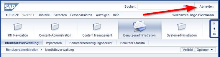SAP Portal Link für Abmelden