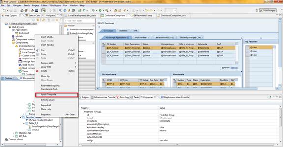 Web Dynpro Java Tabellen in Apply Template einbauen