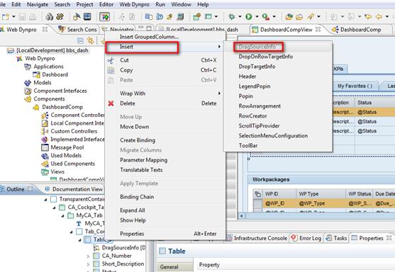 Web Dynpro Java DragSourceInfo in Quelltabelle einfügen