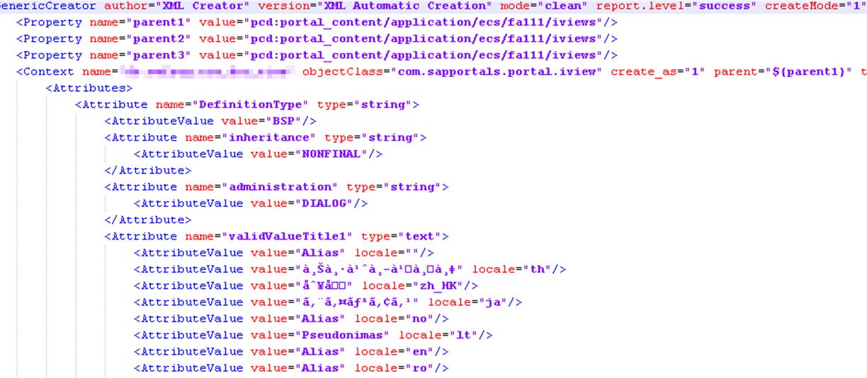 Ausschnitt einer XML-Content Datei Portal Content Directory