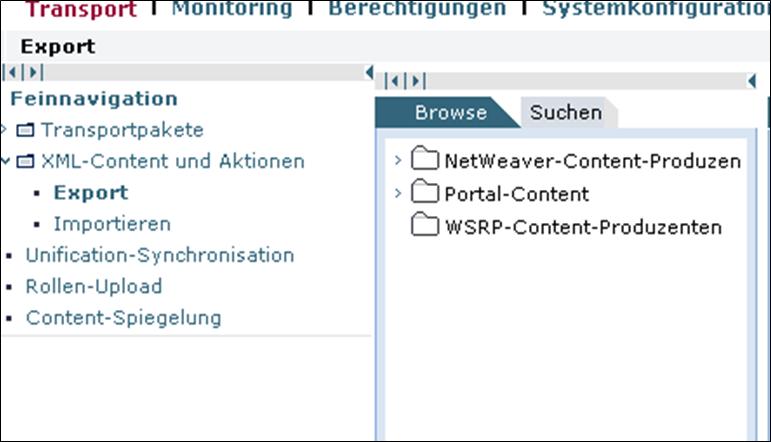 Portal Content Directory: XML-Content und Aktionen im SAP Portal 7.0