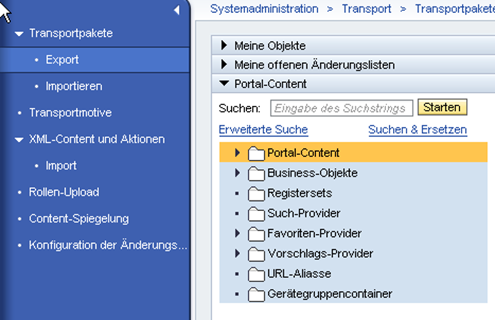 Portal Content Directory: XML Content und Aktionen im SAP Portal 7.3