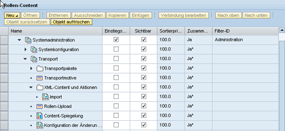 Portal Content Directory: SAP Portal system_admin_role Inhalt