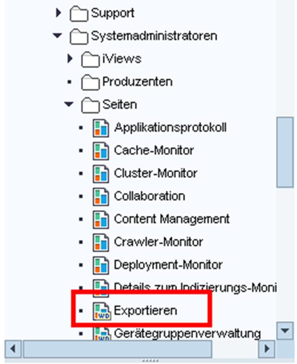 Portal Content Directory: XML-Content Export Seite im SAP Portal 7.3