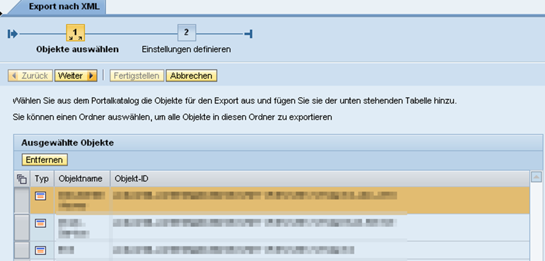 Portal Content Directory Objekte werden dem XML-Content File zum Export hinzugefügt