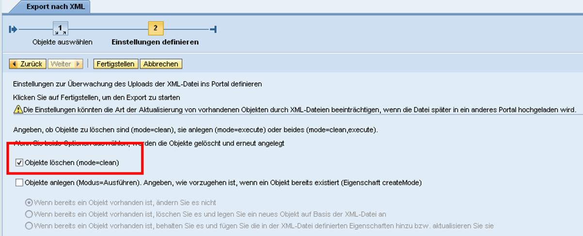 Portal Content Directory Objekte über das Kennzeichen clean löschen.