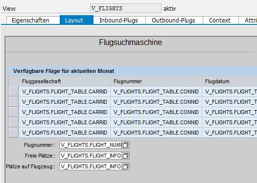 Flugtabelle vom SAP IDES
