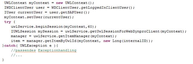 Codebeispiel 1: Auslesen eines Items aus der UWL