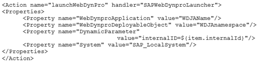 Codebeispiel 2: XML-Konfiguration zum Absprung in die WDJA