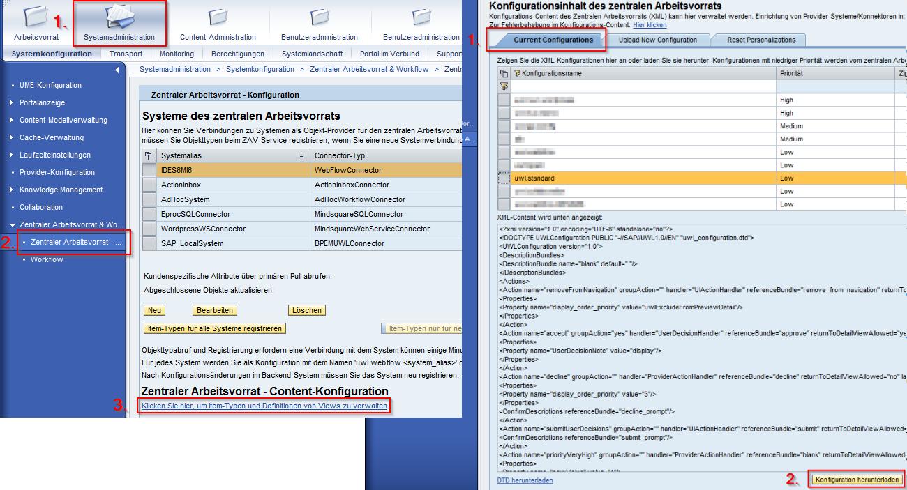 """Abbildung 2: So gelangen Sie zur Konfiguration und laden die """"uwl.standard"""" Konfiguration herunter"""