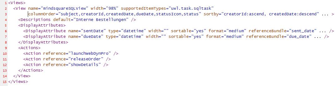 Abbildung 3: Ausschnitt aus der UWL XML-Konfiguration