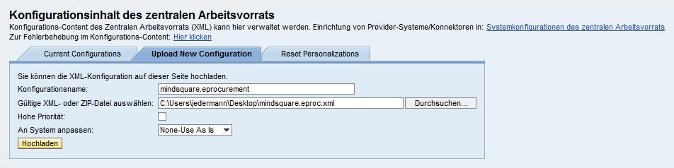 Abbildung 4: Die fertige XML-Konfiguration muss abschließend hochgeladen werden