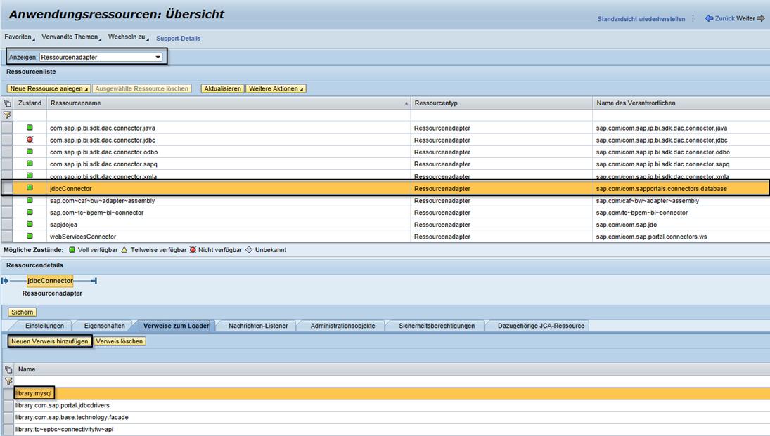 JDBC-Connector als Ressourcenadapter suchen