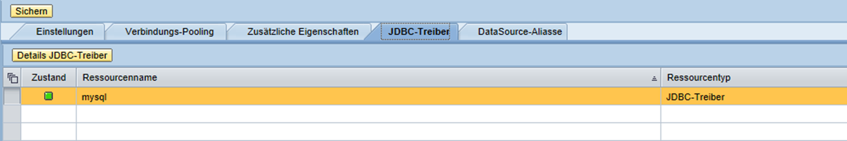 Erfolgreiche JDBC-Connector Verbindung