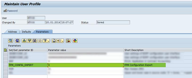 FPM Expert Parameter im User Profil