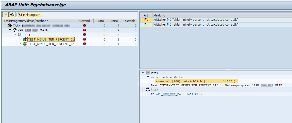 ABAP Unit Ergebnisanzeige