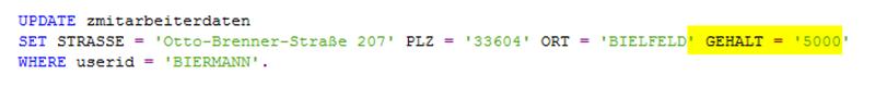 Beispiel Codeänderung bei SQL injection