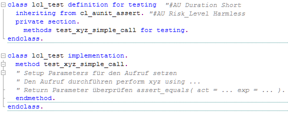 abap unit report template