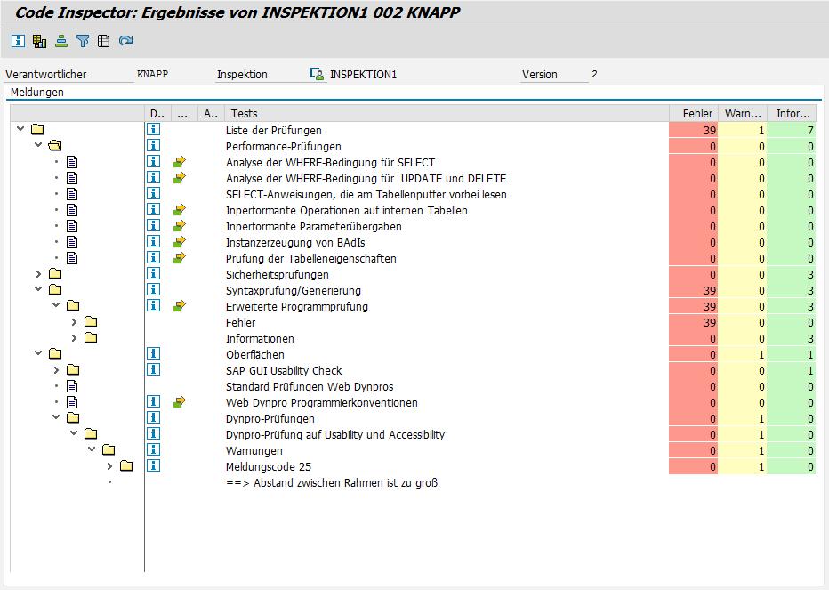 Abbildung 3: Ergebnis einer Inspektion mittels Code Inspector