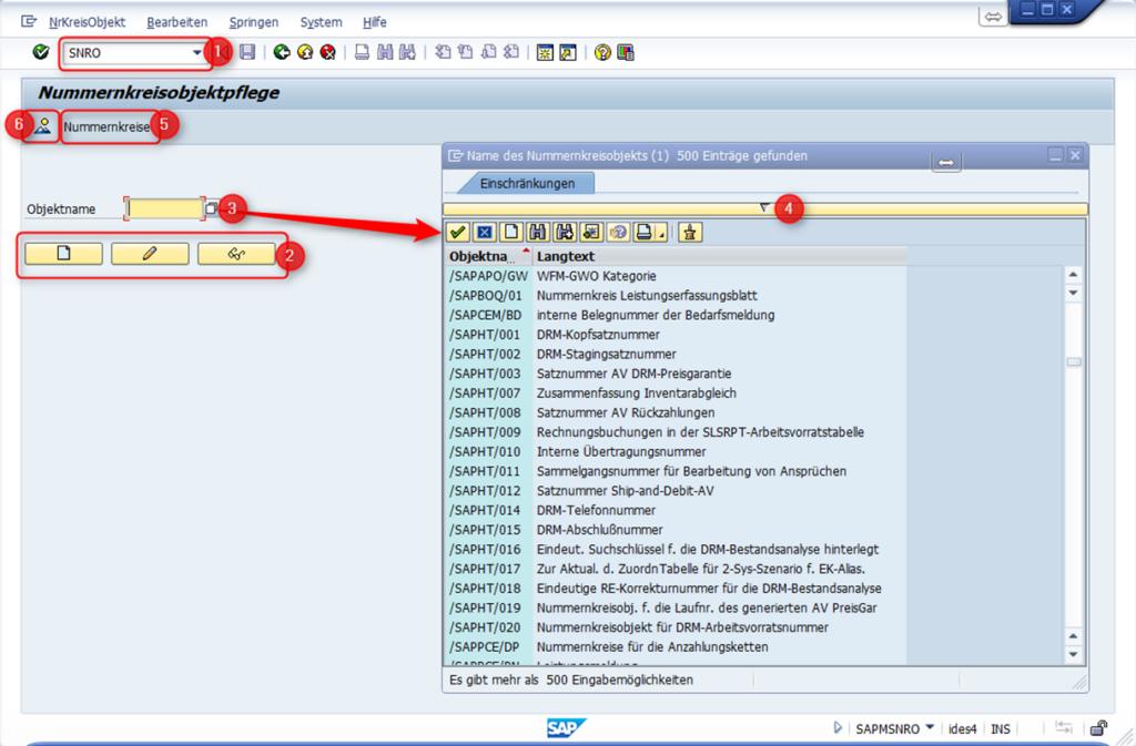 SAP Nummernkreisobjektpflege: Transaktionscode SNRO