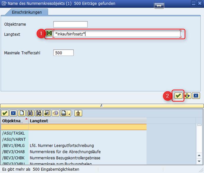 Suchhilfe für SAP Nummernkreisobjekte