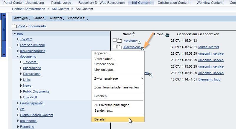 SAP Portal Bildergalerie: Wechseln zur Detailansicht