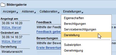 SAP Portal Bildergalerie: Darstellungsoptionen
