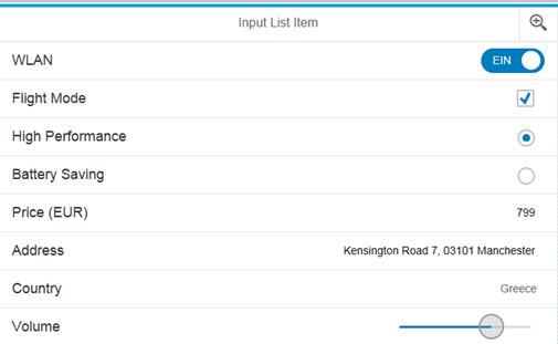 SAPUI5 Theme Designer Blue Crystal Theme Input List Item