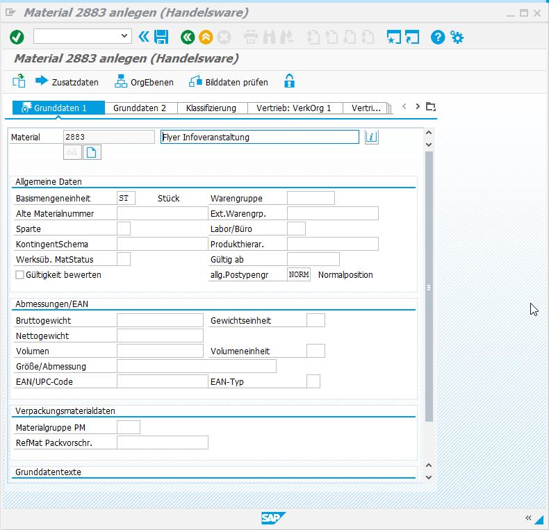 SAP Screen Personas: Fortsetzung Material anlegen - Grunddaten 1.