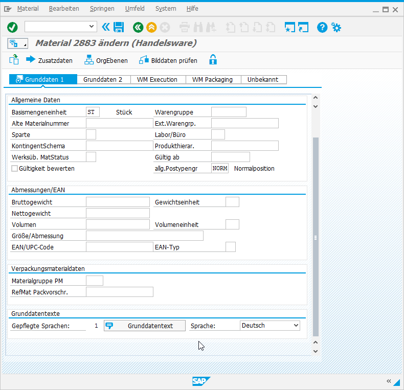 SAP Screen Personas: Fortsetzung Material ändern - Grunddaten 1.