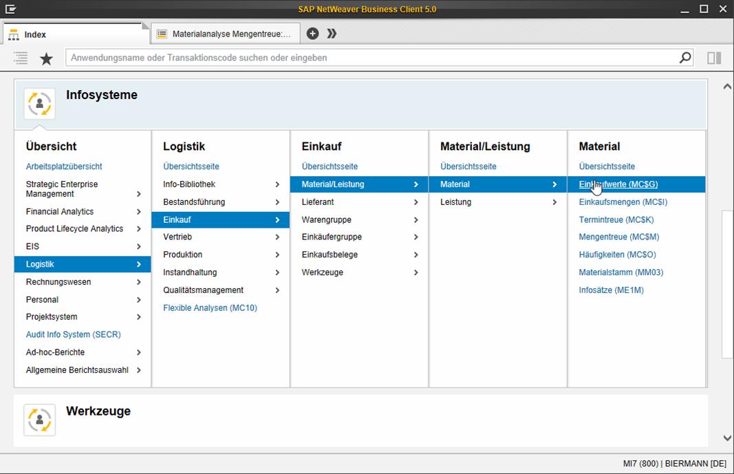 SAP GUI: Menüdarstellung im NWBC
