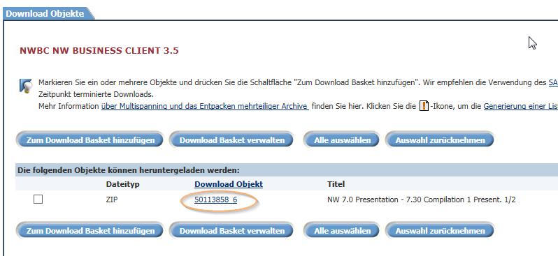 SAP NWBC mit Möglichkeit zur Versionsauswahl für den Download