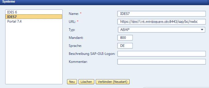 Verbindung einrichten im SAP NWBC