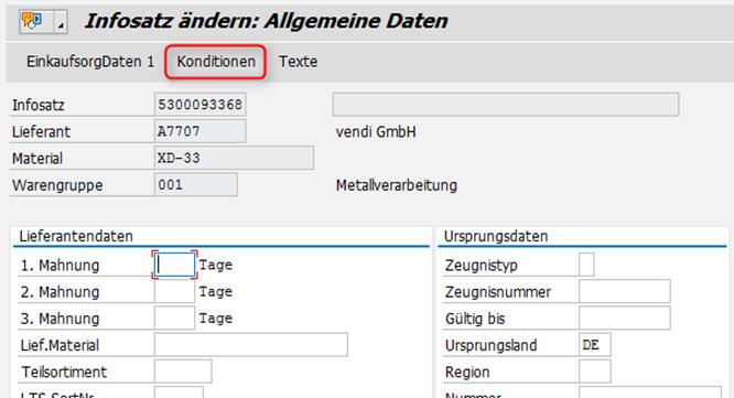 SAP MM: Konditionen in ME11 aufrufen