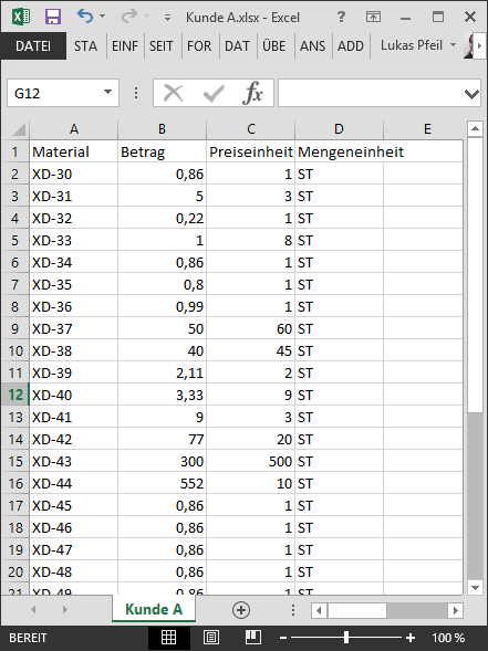 Preispflege in SAP SD/MM via Excel-Upload: Excel-Datei