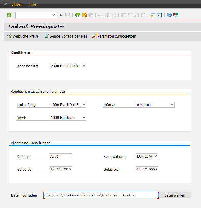 Preispflege in SAP SD/MM via Excel-Upload: Preisimporter - Einkauf