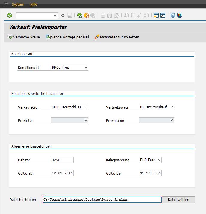 Preispflege in SAP SD/MM via Excel-Upload: Preisimporter - Verkauf