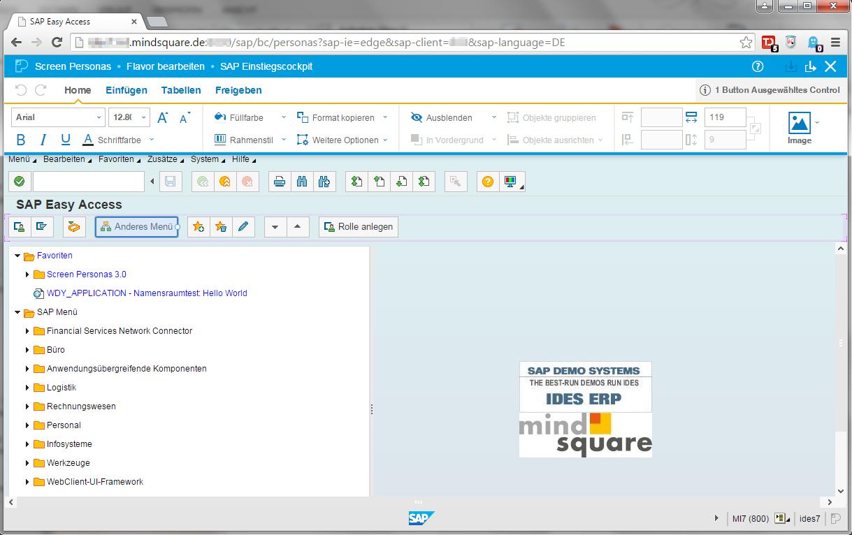 SAP Screen Personas Editor-Modus mit Bearbeitungsleiste