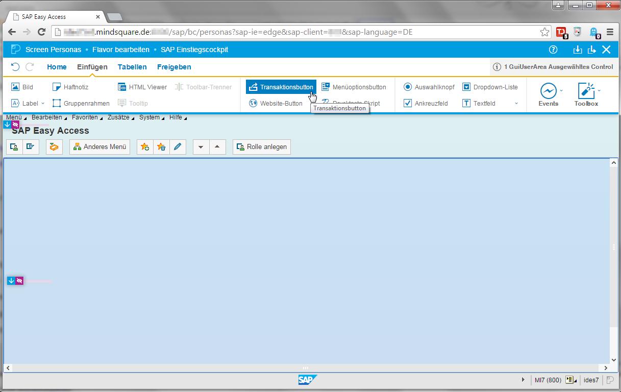 SAP Screen Personas neues Controls