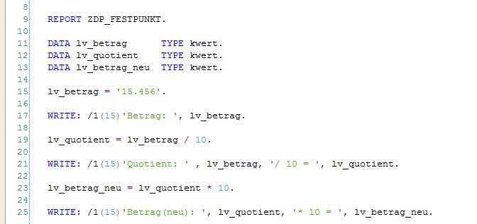 Festpunktarithmetik in ABAP: Beispiel Report