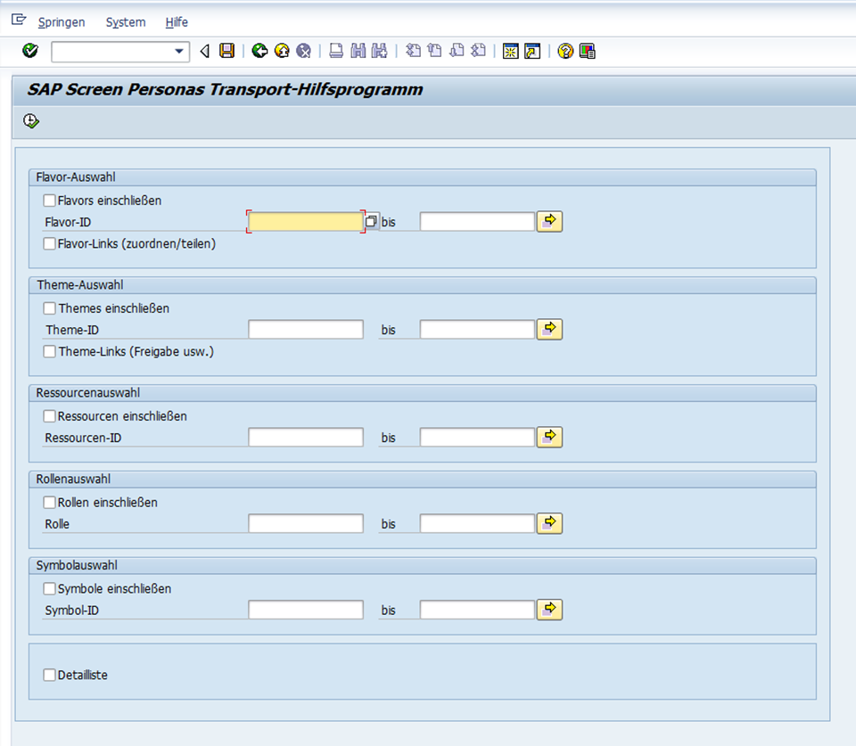 SAP Screen Personas 3.0 : tranports