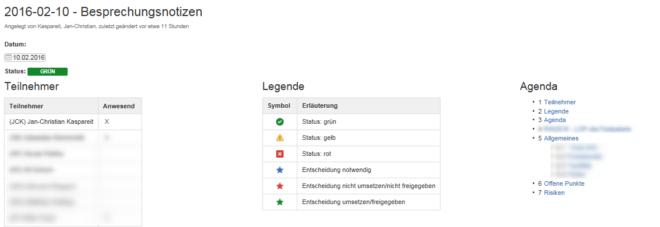 Projektmanagement mit dem Confluence Wiki: Mögliche Formatierung eines Statusprotokolls