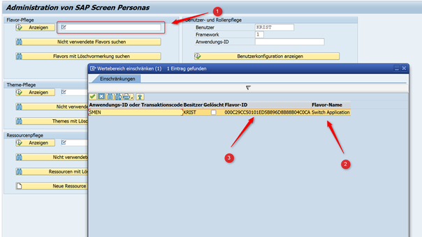 SAP Screen Personas: Flavor ID-Suche in der Transaktion