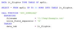 Export von Tabellendaten in lokale Datei